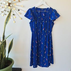 West Kei Blue parrot print flutter sleeve dress S